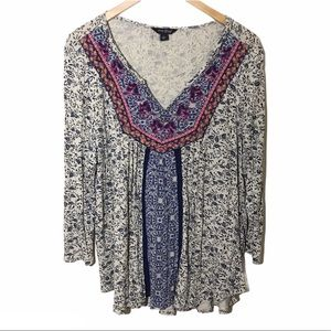 Lucky Brand Embroidered Tunic Top